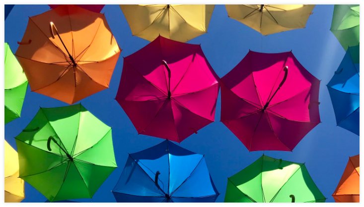 Various colors of umbrellas