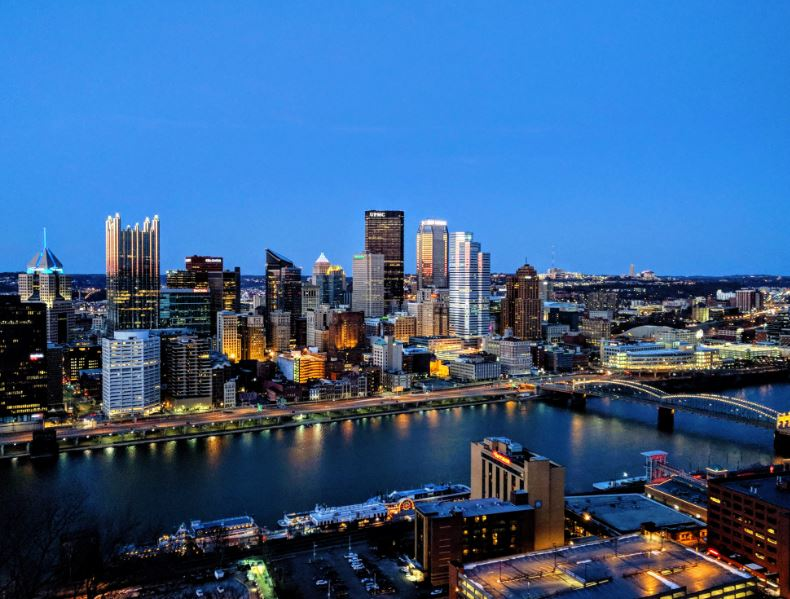 Arial view of Pittsburgh skyline at night to depict Diag Partners office in Pittsburgh PA